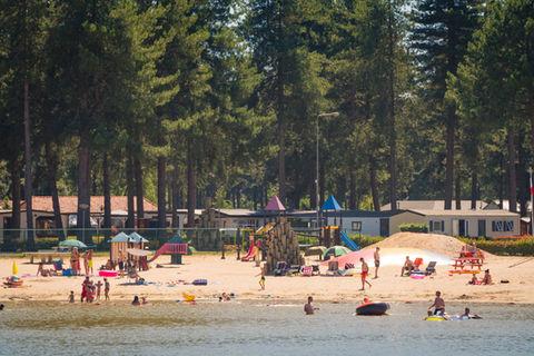 Zwemvijver met speeltuin en spelende kinderen in vakantiepark Tulderheyde