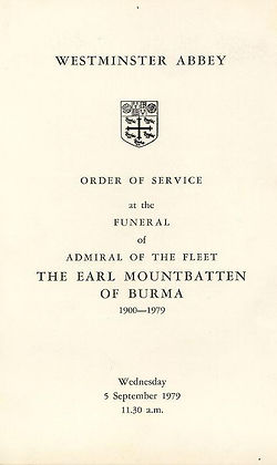 Order of Service at Mountbatten's funeral at Westminster Abbey, London