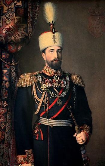 A portrait of Alexander I, The Prince of Bulgaria by Karl Dielitz