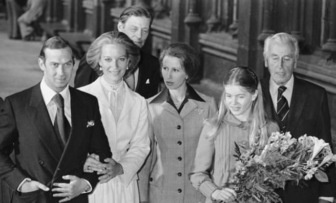Following their wedding - Prince Michael of Kent & Baroness Marie-Christine von Reibnitz, with Sir Angus Ogilvy (husband of Princess Alexandra of Kent), Princess Anne, The Princess Royal, Lady Helen Taylor (daughter of Prince Edward, The 2nd Duke of Kent)  and Mountbatten
