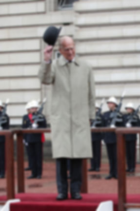 Philip acknowledging his farewell retirement cheers from the Corps of HM Royal Marines ​