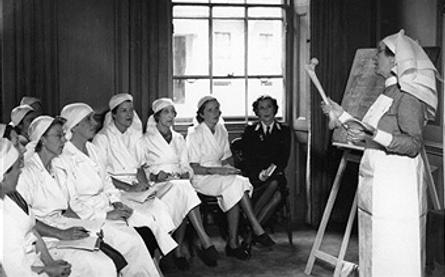 Edwina at a St John's Ambulance Brigade training class in 1940