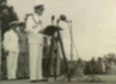  Mountbatten reading an address from King George VI at the victory parade in Rangoon, June 1945 