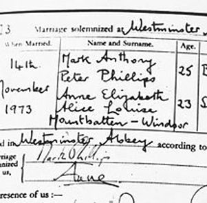 "An extract from the marriage certificate of Captain Mark Phillips to Princess Anne  (now The Princess Royal) giving her surname as ""Mountbatten-Windsor"" for the first time on a legal document"