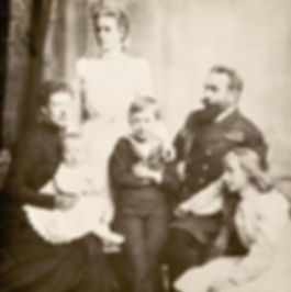 Prince & Princess Louis of Battenberg and their 4 children - baby Louis (Mountbatten) sitting on his mother's lap,  Alice (later Princess Andrew of Greece & Denmark),  George (later 2nd Marquess of Milford Haven & Louise (later Queen Louise of Sweden) ​