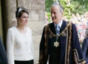 The Lady Alexandra Knatchbull (left) with her father Norton (now 3rd Earl Mountbatten of Burma) wearing the robes of High Steward of Romsey at Romsey Abbey, awaiting the arrival of Queen Elizabeth II in 2007 ​