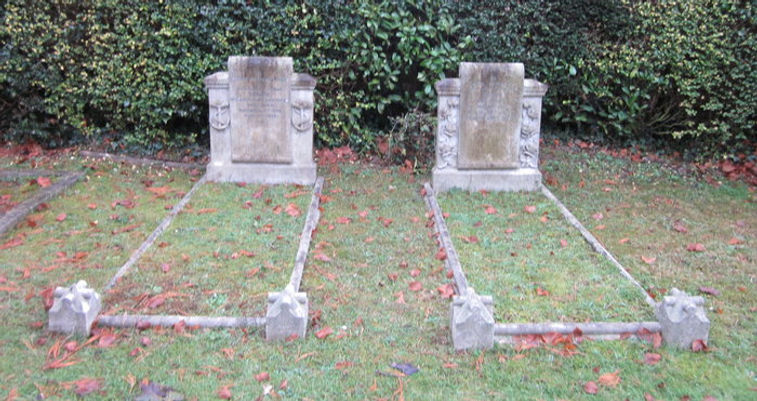 The joint graves of George, 2nd Marquess of Milford Haven (left) & his wife Nadejda, Marchioness of Milford Haven (right) at Bray Cemetery  ​