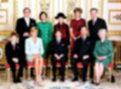 The confirmation of Prince William of Wales, later The Duke of Cambridge in 1982 -  back row - King Constantine II,  The King of the Hellenes; The Lady Susan Hussey (Baroness Hussey of North Bradley);  Princess Alexandra, The Hon. Lady Ogilvy;  The Duchess of Westminster & Norton; front row (seated) - Prince Henry of Wales; Diana, Princess of Wales; Prince William;  Prince Charles, The Prince of Wales & Queen Elizabeth II ​