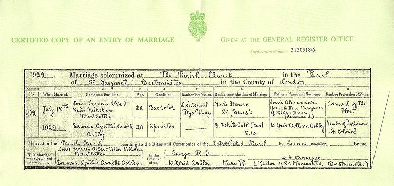 Wedding certificate of Mountatten & Edwina
