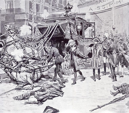 A drawing of the aftermath of the assassination attempt on Victoria Eugénie & King Alfonso XIII on their wedding day 