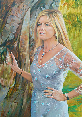 A portrait of Clare, The Marchioness of Milford Haven by Gillian Erskine-Hill 