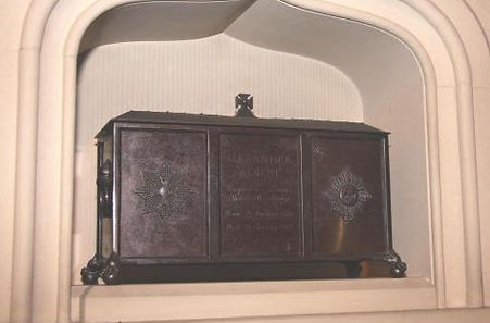 Alexander's memorial in the Battenberg Chapel,  St Mildred's Church, Whippingham, Isle of Wight 