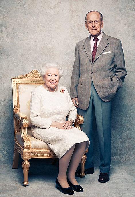 A photographic portrait of Queen Elizabeth II & Prince Philip, Duke of Edinburgh from the series taken by Matt Holyoak to celebrate their Platinum Wedding Anniversary 