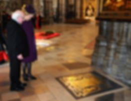 President Michael D. Higgins & Mrs Higgins paying their respects at the Mountbatten Memorial,​ Westminster Abbey, London