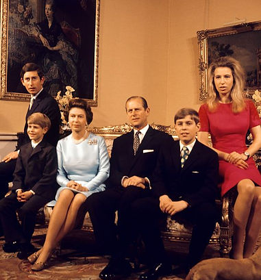 Queen Elizabeth II & Prince Philip, with their 4 children - (left to right) - Prince Charles, The Prince of Wales;  Prince Edward, later The Earl of Wessex,  Prince Andrew, later The Duke of York & Princess Anne, later The Princess Royal at Buckingham Palace in 1972 ​