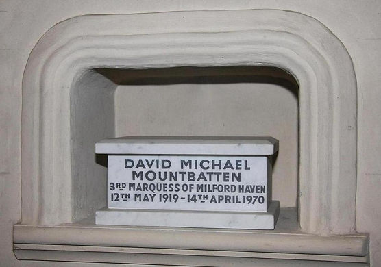 The casket containing the ashes of David, 3rd Marquess of Milford Haven within the Battenberg Chapel, St Mildred's Church, Whippingham, on the Isle of Wight ​