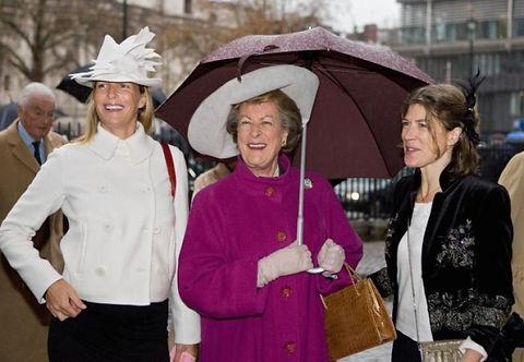 Lady Pamela Hicks (Mountbatten's youngest daughter) with her two daughters - India (left) and Edwina (right) following the Diamond Wedding Anniversary Service of Thanksgiving ​