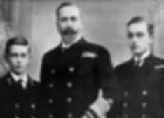 Louis, 1st Marquess of Milford Haven (Prince Louis of Battenberg)  with his two sons -  Mountbatten (left) and George (right)