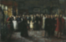 A painting of the baptism of Prince Maurice of Battenberg by George Ogilvy Reid ​