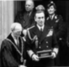 Mountbatten (and Edwina at rear) at Romsey Town Hall following his award of the Freedom of Romsey, June 1946 