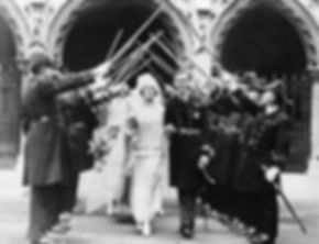 Edwina & Mountbatten leaving St Margaret's Church, Westminster through the Naval guard of honour