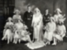 The official wedding photograph of Mountbatten & Edwina with their best man - Prince Edward, The Prince of Wales and their 7 bridesmaids
