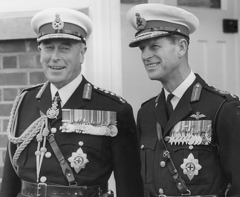 Mountbatten (Life Colonel Commandant of HM Royal Marines) with Philip (Captain-General of HM Royal Marines) 
