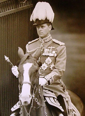 Philip on horseback in the uniform of a Field Marshal at Trooping the Colour 