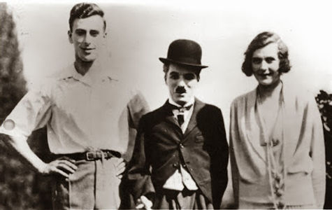 """Edwina & Mountbatten with film star Charlie Chaplin on the set of their film """"Nice And Friendly"""""""