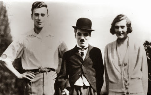"Edwina & Mountbatten with film star Charlie Chaplin on the set of their film ""Nice And Friendly"""