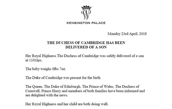 The official announcement of the birth of Prince Louis of Cambridge 