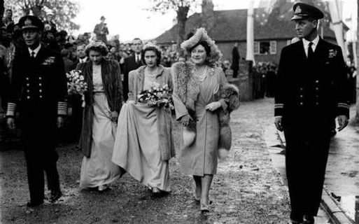 King George VI, Princess Elizabeth (now Queen Elizabeth II), Princess Margaret, Queen Elizabeth and Prince Philip of Greece & Denmark arrive at the weeding of Patricia & John, 7th Lord Brabourne