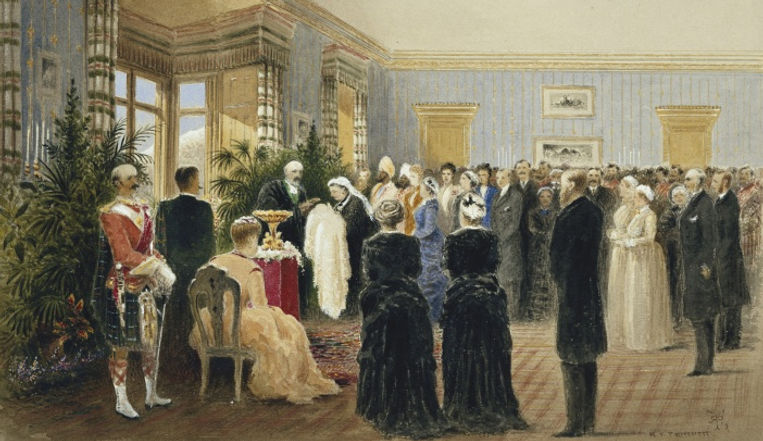 A painting of the baptism of Princess Victoria Eugénie of Battenberg by R. T. Pritchett 