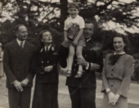 The Mountbattens with The Duke & Duchess of Gloucester in Canberra, Australia 1946. Mountbatten is holding their eldest son - Prince William of Gloucester ​