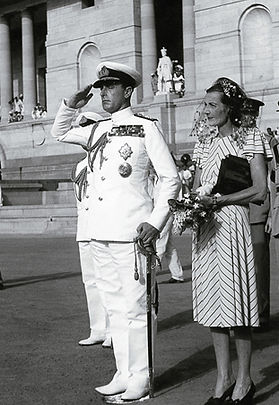 Mountbatten taking the salute,  with Edwina and Pamela by his side asThe Mountbattens leave Government House