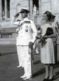 Mountbatten taking the salute,  with Edwina and Pamela by his side as The Mountbattens leave Government House