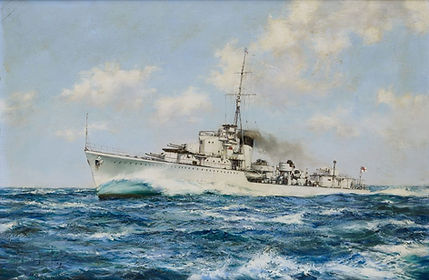 A painting of HMS Kelly in 1939by Montague Dawson