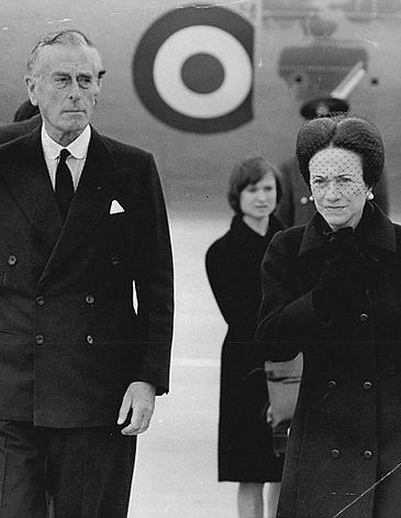 Mountbatten & The Duchess of Windsor following her arrival at London Airport for the funeral of her husband The Duke of Windsor (formerly King Edward VIII)