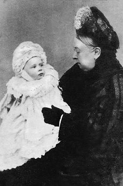Alexander as a baby sitting with his grandmother - Queen Victoria 
