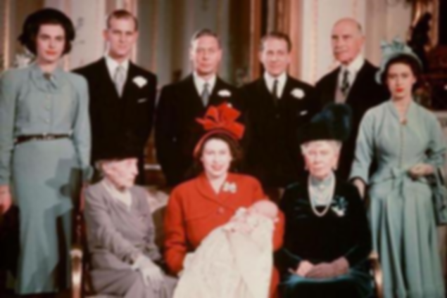 The christening of Prince Charles of Edinburgh (later The Prince of Wales) -  Rear (left to right) - Patricia (now 2nd Countess Mountbatten of Burma); Prince Philip, The Duke of Edinburgh (representing Prince George of Greece & Denmark); King George VI; The Hon. Sir David Bowes Lyon; The Earl of Athlone (representing King Haakon VII of Norway) & Princess Margaret; Front (seated left to right) - The Dowager Marchioness of Milford Haven; Princess Elizabeth, Duchess of Edinburgh (now Queen Elizabeth II) holding the baby Prince Charles & Queen Mary
