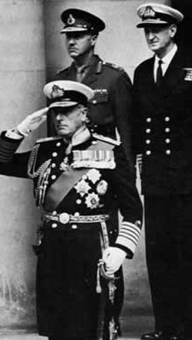 Mountbatten taking his final salute as Chief of the Defence Staff