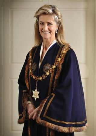Penelope, Lady Brabourne in the robes of High Steward of Romsey 