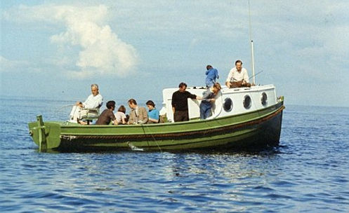 """Mountbatten and his family on board """"Shadow V"""""""