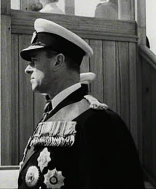 Mountbattenon-board HMS Surprise for the Coronation Fleet Review at Spithead, June 1953