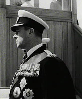 Mountbatten on-board HMS Surprise for the Coronation Fleet Review at Spithead, June 1953