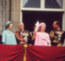 The Silver Jubilee of Queen Elizabeth II in 1977 -  (left to right): Princess Anne, Mountbatten, Captain Mark Phillips, Queen Elizabeth II & Prince Philip, The Duke of Edinburgh on the balcony at Buckingham Palace ​
