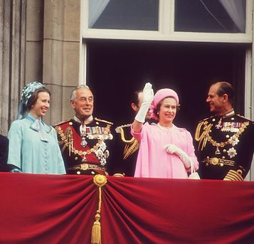 The Silver Jubilee of Queen Elizabeth II in 1977 -  (left to right): Princess Anne, Mountbatten, Captain Mark Phillips, Queen Elizabeth II & Prince Philip, The Duke of Edinburgh on the balcony at Buckingham Palace 