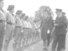 Edwina inspecting St John's Ambulance Brigade volunteers in Reading 1943 ​