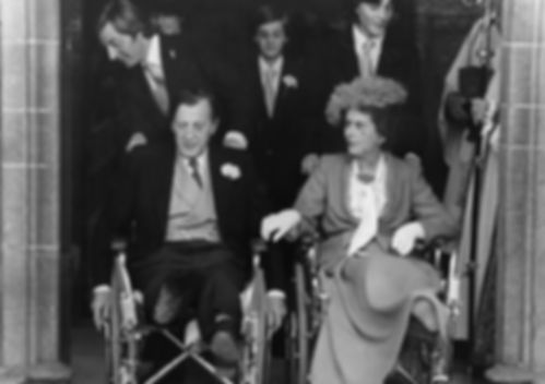 John, 7th Lord Brabourne & Patricia (both in wheelchairs) at Romsey Abbey at the wedding of their eldest son - Norton, Lord Romsey (now 3rd Earl Mountbatten of Burma)