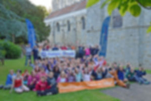 The Romsey District Scouts withing the grounds of Romsey Abbey, Romsey